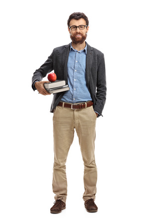 Full length portret van een mannelijke leraar geïsoleerd op een witte achtergrond
