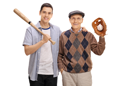 Young man with a baseball bat and a senior with a glove isolated on white background
