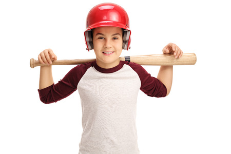 Joyful little boy posing with a baseball bat isolated on white background