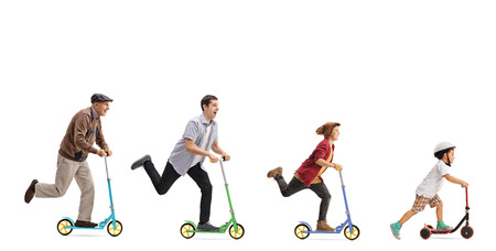 Senior, man, young man and a kid  riding scooters isolated on white background