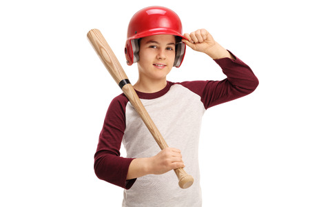 children sport: Kid with a baseball bat and a helmet isolated on white background