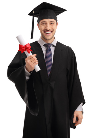 Delighted graduate student holding a diploma isolated on white background Stock Photo