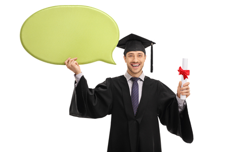 Joyful graduate student holding a speech bubble and a diploma isolated on white background