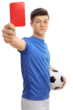 judge players: Teenage soccer player showing a red card isolated on white background Stock Photo
