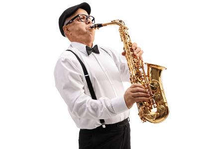 Mature, jazz, musicien, jouer, saxophone, isolé, blanc, fond