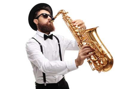 Bearded man playing a saxophone isolated on white background
