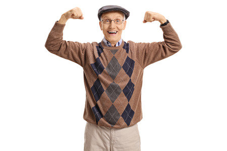 Cheerful senior flexing his muscles and looking at the camera isolated on white background Banco de Imagens