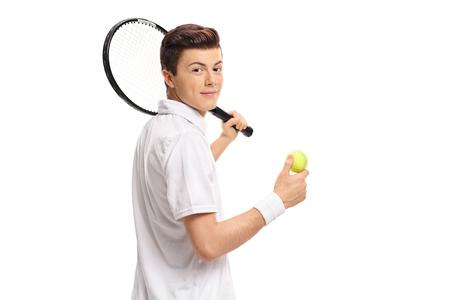 白い背景に分離カメラ目線ラケットとテニス ボール代テニス プレーヤー