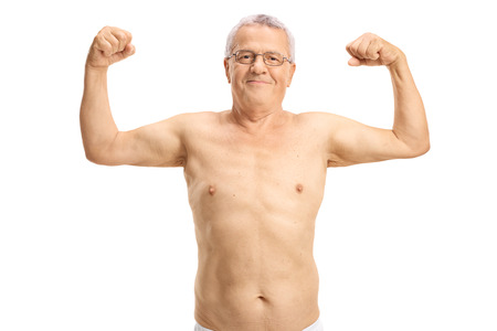 flexing: Shirtless elderly man flexing his biceps isolated on white background