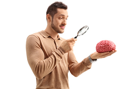 Young guy examining a brain model with a magnifying glass isolated on white background Stock Photo