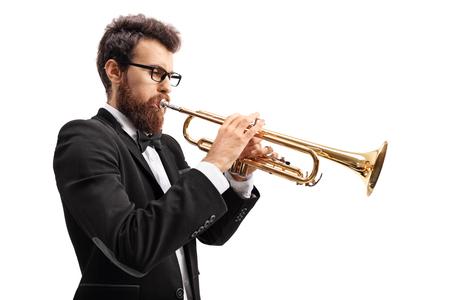 Musicien, jouer, trompette, isolé, blanc, fond