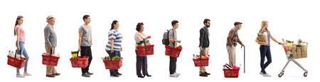 Full length profile shot of people with groceries waiting in line isolated on white background