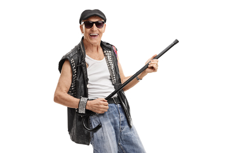 Old punker pretending to play guitar on his cane isolated on white background