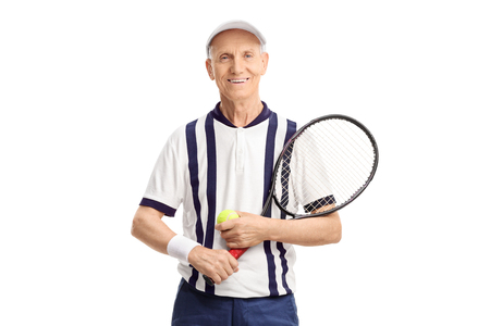 70s tennis: Senior with a tennis racket and a ball isolated on white background