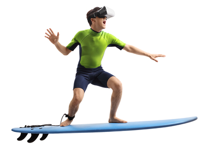 Teenage boy with a VR headset surfing isolated on white background Stock Photo