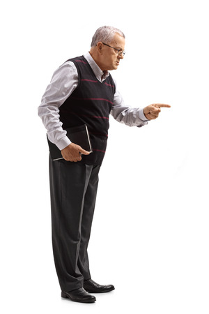 Full length profile shot of a teacher scolding someone isolated on white background Stock Photo