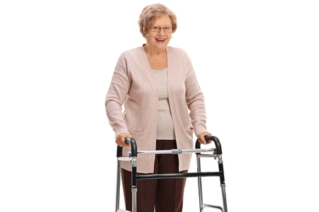 Mature woman with a walker isolated on white background
