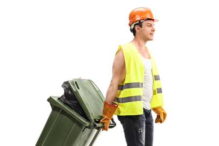 Waste collector with a trash can isolated on white background Banque d'images