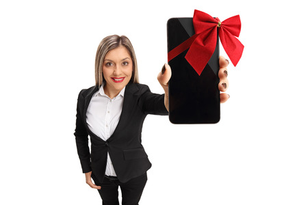 Formally Dressed Woman Showing A Phone Wrapped With A Red Ribbon