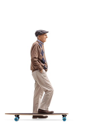 Full length profile shot of a senior with a longboard waiting in line isolated on white background