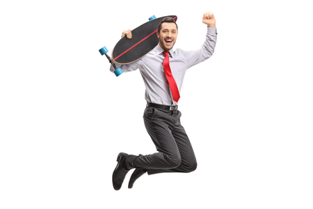 Businessman with a longboard jumping and gesturing happiness isolated on white background