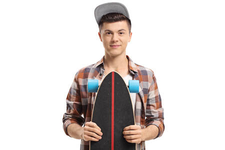 Teenage hipster with a longboard isolated on white background