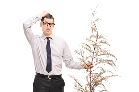 Confused young man holding a dead tree isolated on white background Stock Photo