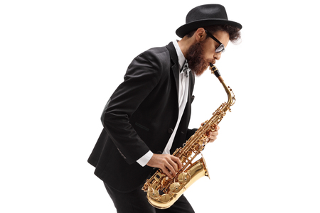 Man playing a saxophone isolated on white background Banco de Imagens