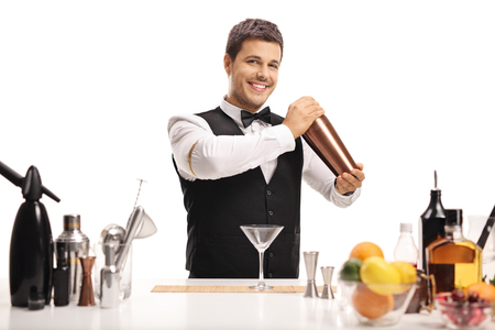 Barman with a shaker isolated on white background