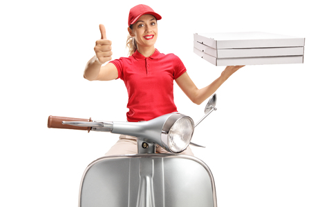 Pizza delivery woman on a scooter giving thumbs up isolated on white background