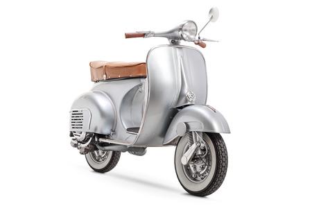 Vintage 1961 VBB 150 Vespa scooter aislado sobre fondo blanco. Foto de archivo
