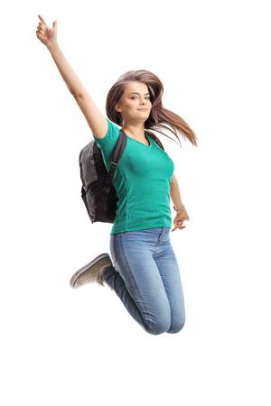 Beautiful female student jumping