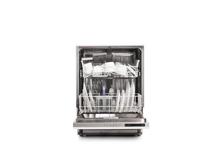 Studio shot of a loaded dishwasher isolated on white