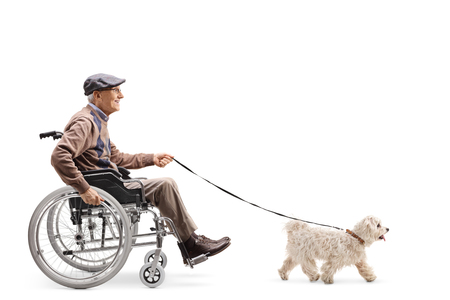 Full length profile shot of a senior man in a wheelchair walking a dog isolated on white background