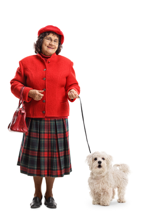 Full length portrait of an older lady with a maltese poodle dog isolated on white background Фото со стока