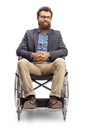 Full length portrait of a young bearded man in a wheechair isolated on white background Imagens