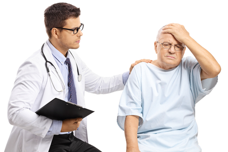 Doctor announcing bad news to a male patient isolated on white background