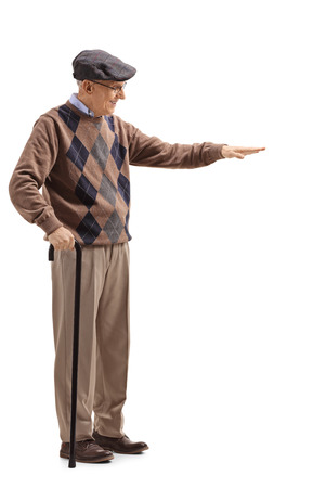 Full length shot of a senior man gesturing with hand and showing the height of something isolated on white background