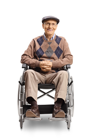 Full length portrait of a senior man in a wheelchair smiling at the camera isolated on white background
