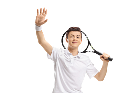 Male teenage tennis player waving isolated on white background