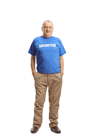 Full length portrait of a mature man volunteer posing isolated on white background