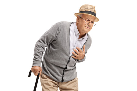 Elderly man having a heart attack isolated on white background Standard-Bild