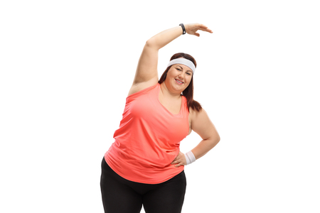 Chubby woman exercising isolated on white background 写真素材