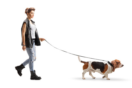 Full length profile shot of a punk girl walking with a basset hound dog on a leash isolated on white background Stock Photo