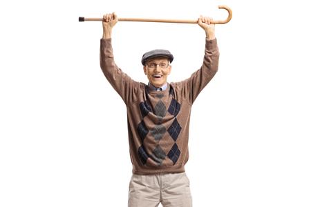 Happy senior man holding a walking cane up isolated on white background