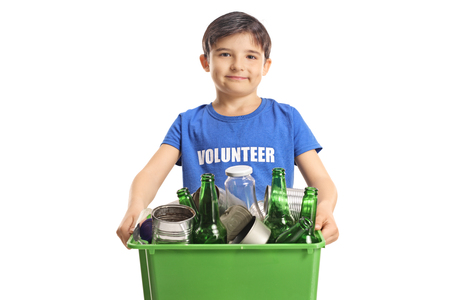 Boy volunteer holding a box with recycling bottles and cans isolated on white background
