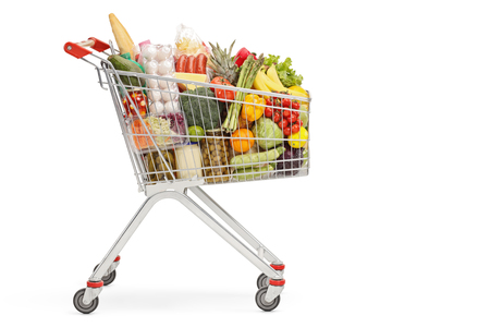 Shopping cart with food products isolated on white background