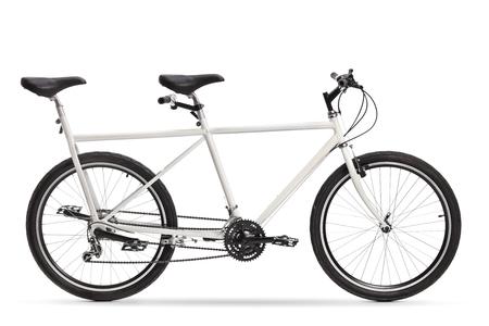 White tandem bike isolated on white background 版權商用圖片