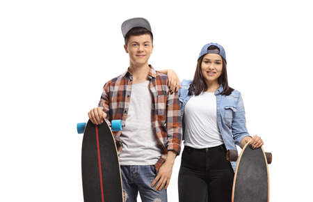 Teenagers with longboards smiling at the camera isolated on white background Imagens