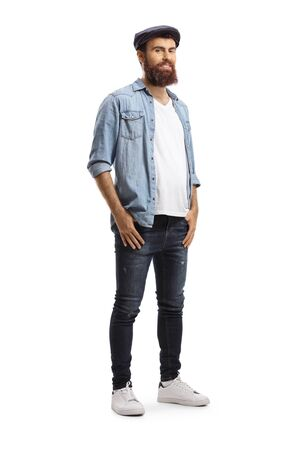 Full length portrait of a hipster man wearing jeans isolated on white background